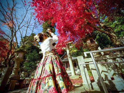 【長浜ローカルフォトアカデミー】竹中昌代 木之本の意おほふら冨布良神社は、紅葉スポット。フォトジェニックな女子がふらっと訪れることも…。